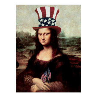 Patriotic Mona Lisa - Ready for Independence Day Print