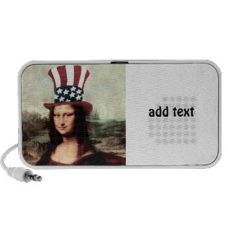 Patriotic Mona Lisa - Ready for Independence Day Laptop Speakers