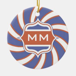 Patriotic Monogram Retro Spiral Red White Blue Ceramic Ornament