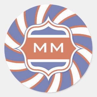 Patriotic Monogram Retro Spiral Red White Blue Classic Round Sticker