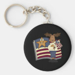 Patriotic Moose Gifts For Her Key Chains