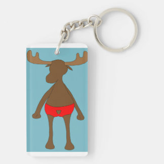 Patriotic Moose with background Double-Sided Rectangular Acrylic Keychain