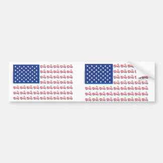 Patriotic Motorcycle Flag with a Blue Shadow Car Bumper Sticker