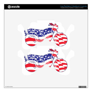 Patriotic Motorcycle Skin For PS3 Controller