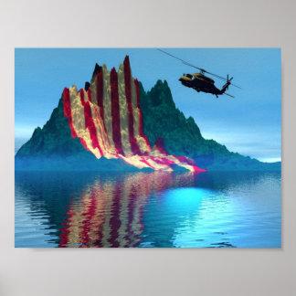 Patriotic Mountain Poster