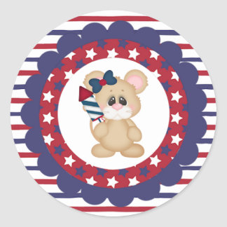 Patriotic Mouse with Fireworks Stickers