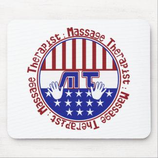 PATRIOTIC MT - MASSAGE THERAPIST - FLAG COLORS MOUSE PAD