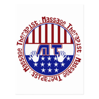 PATRIOTIC MT - MASSAGE THERAPIST - FLAG COLORS POSTCARD