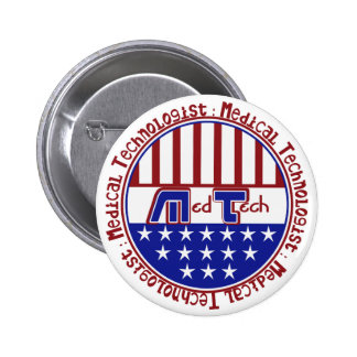 PATRIOTIC MT (MEDICAL TECHNOLOGIST) USA FLAG PINBACK BUTTON