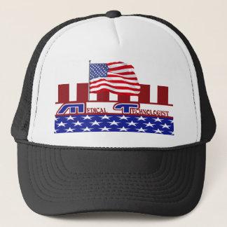 PATRIOTIC MT (MEDICAL TECHNOLOGIST) USA FLAG TRUCKER HAT