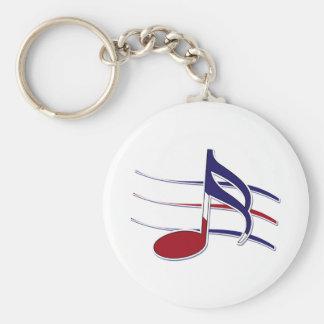 Patriotic Music Note Basic Round Button Keychain