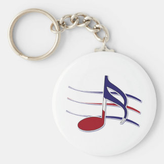 Patriotic Music Note Keychain