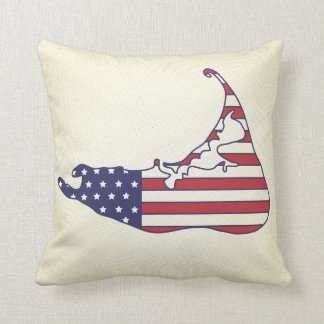 Patriotic Nantucket Map in Stars and Stripes Throw Pillow