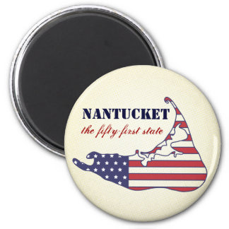 Patriotic Nantucket, the 51st State of America 2 Inch Round Magnet