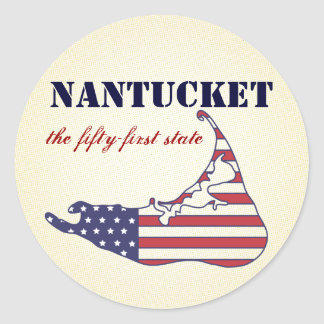 Patriotic Nantucket, the 51st State of America Classic Round Sticker