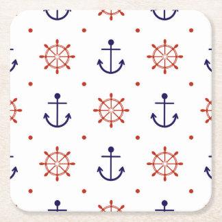 Patriotic Nautical Pattern Square Paper Coaster
