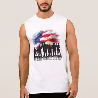 Patriotic Never Back Down Eagle Flag and Soldiers Sleeveless Shirt