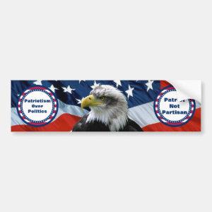 Patriotic Non Partisan Bald Eagle American Flag Bumper Sticker
