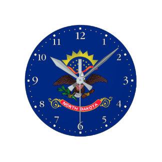 Patriotic North Dakota State Flag Round Clock