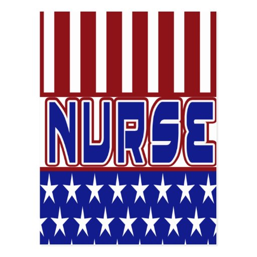 PATRIOTIC NURSE USA FLAG POSTCARD