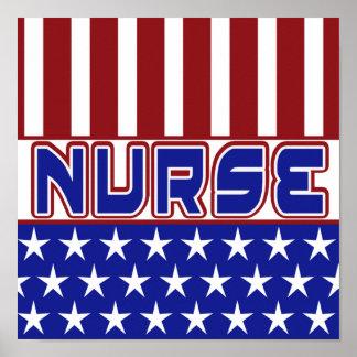 PATRIOTIC NURSE USA FLAG STARS STRIPES POSTER
