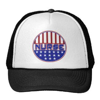 PATRIOTIC NURSE USA FLAG TRUCKER HAT