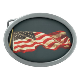 Patriotic Old Glory Rectangular Belt Buckles