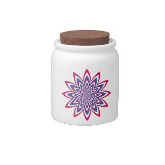 Patriotic Op Art Flower Candy Jar