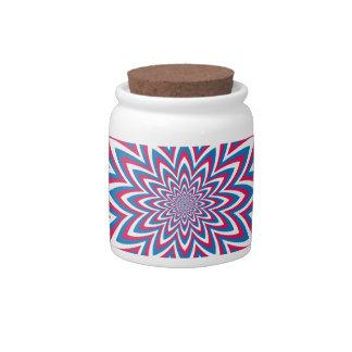 Patriotic Op Art Flower Candy Jars