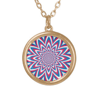 Patriotic Op Art Flower Gold Plated Necklace