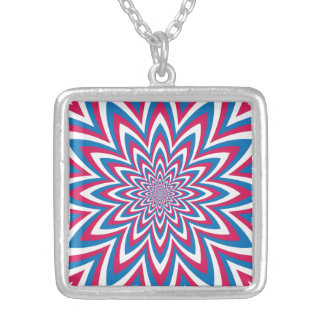 Patriotic Op Art Flower Silver Plated Necklace