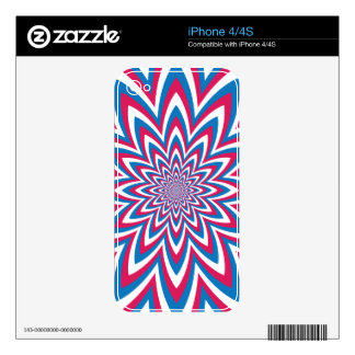 Patriotic Op Art Flower Skins For iPhone 4S