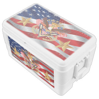 Patriotic or Veteran Duo Deco 48 quart cooler