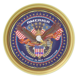 Patriotic or Veteran View Artist Comments Dinner Plate