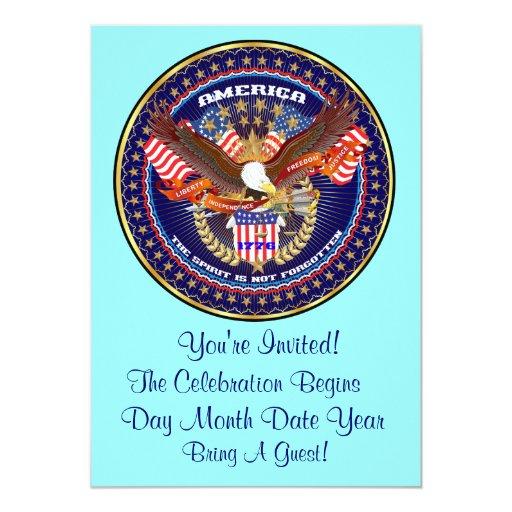"Patriotic or Veteran View Artist Comments 5"" X 7"" Invitation Card"