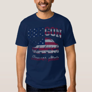 Patriotic Oregon Beaver State American Flag T-Shirt
