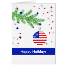 Patriotic Ornament on Branch, Happy Holidays Card at Zazzle