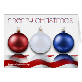 Patriotic Ornaments and Flag Christmas Card