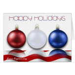 Patriotic Ornaments and Flag Happy Holidays Card