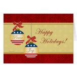 Patriotic Ornaments Happy Holidays Greeting Card