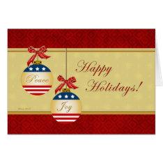 Patriotic Ornaments Happy Holidays Greeting Card at Zazzle
