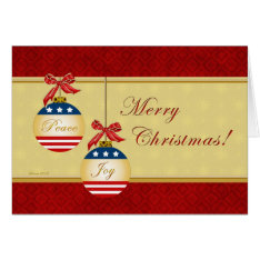 Patriotic Ornaments Merry Christmas Greeting Card at Zazzle