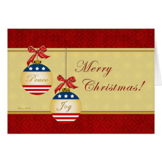 Patriotic Ornaments Merry Christmas Greeting Card