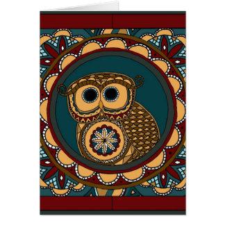 Patriotic Owl Mandala-greeting card