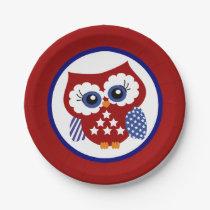 Patriotic Owl Paper Plates