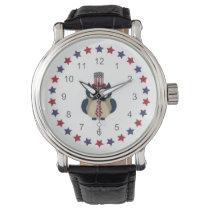 Patriotic Owl with Stars Wrist Watch