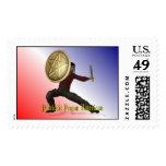 Patriotic Pagan American Postage Stamps