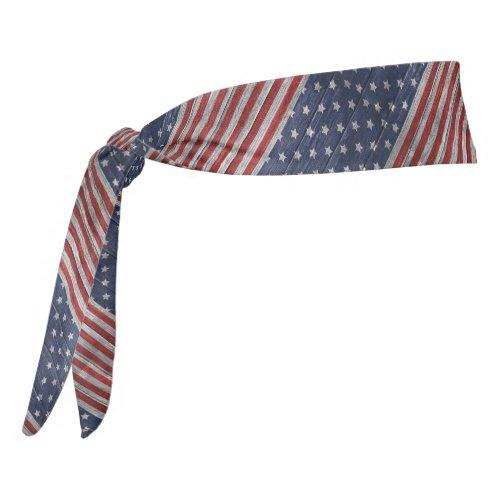 Patriotic Painted Wood Print Tie Headband