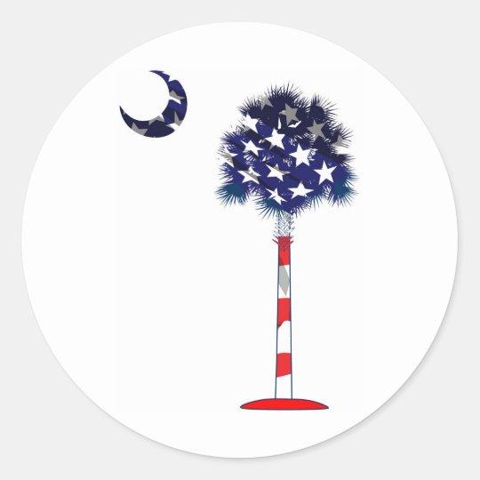 Patriotic Palmetto tree Classic Round Sticker