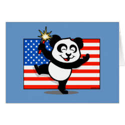 Greeting Card with Patriotic American Panda design